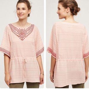Anthropologie euphemia pink embroidered tunic